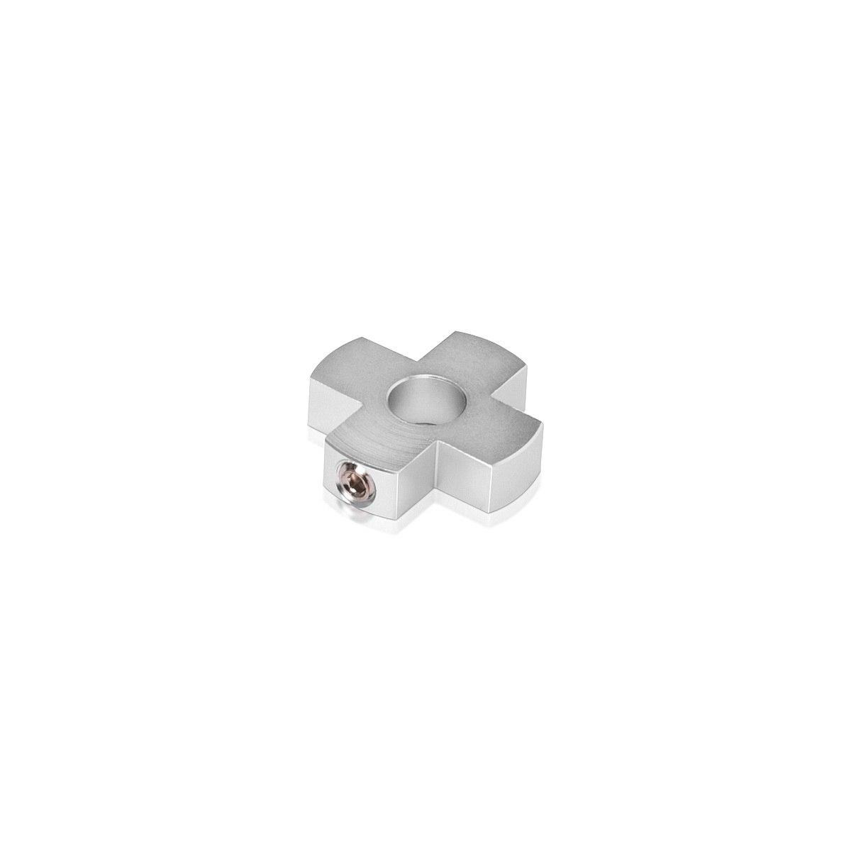 4-Way Standoffs Hub, Diameter: 1'', Thickness: 1/4'', Clear Anodized Aluminum