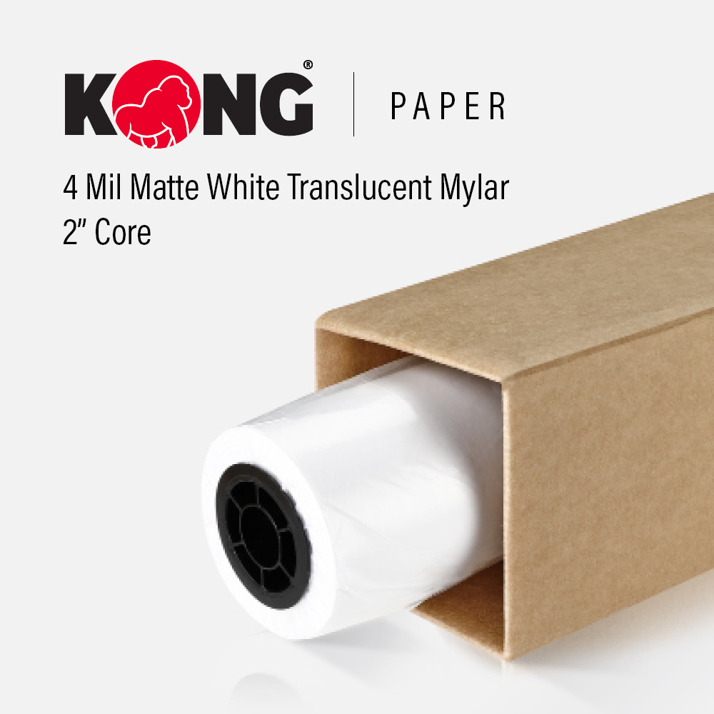 24'' x 120' Roll - 4 Mil Double Sided Matte White Translucent Mylar for Monochrome Printing on One Side for Inkjet Printer on 2'' Core