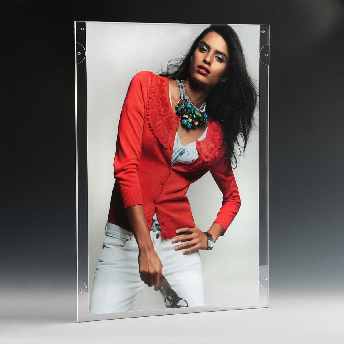 Clear Acrylic Wall Frame with magnets, accommodates  11 x 17 media (sold Without Hardware)