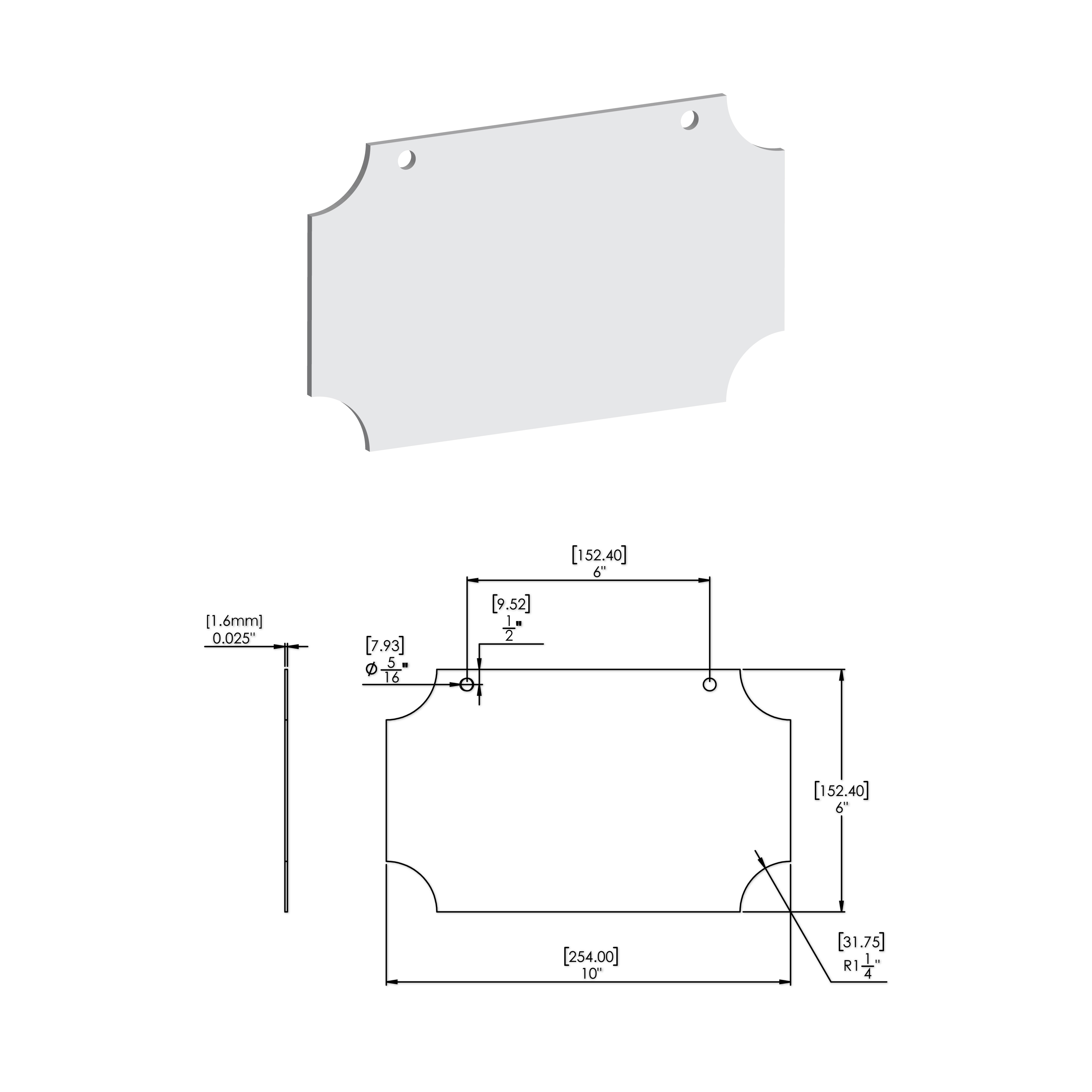 10'' W X 6'' H x .063'' T White Rectangle Sign Blanks with 1-1/4'' Inverted Corners and 2 Pre-Punched 5/16'' Holes