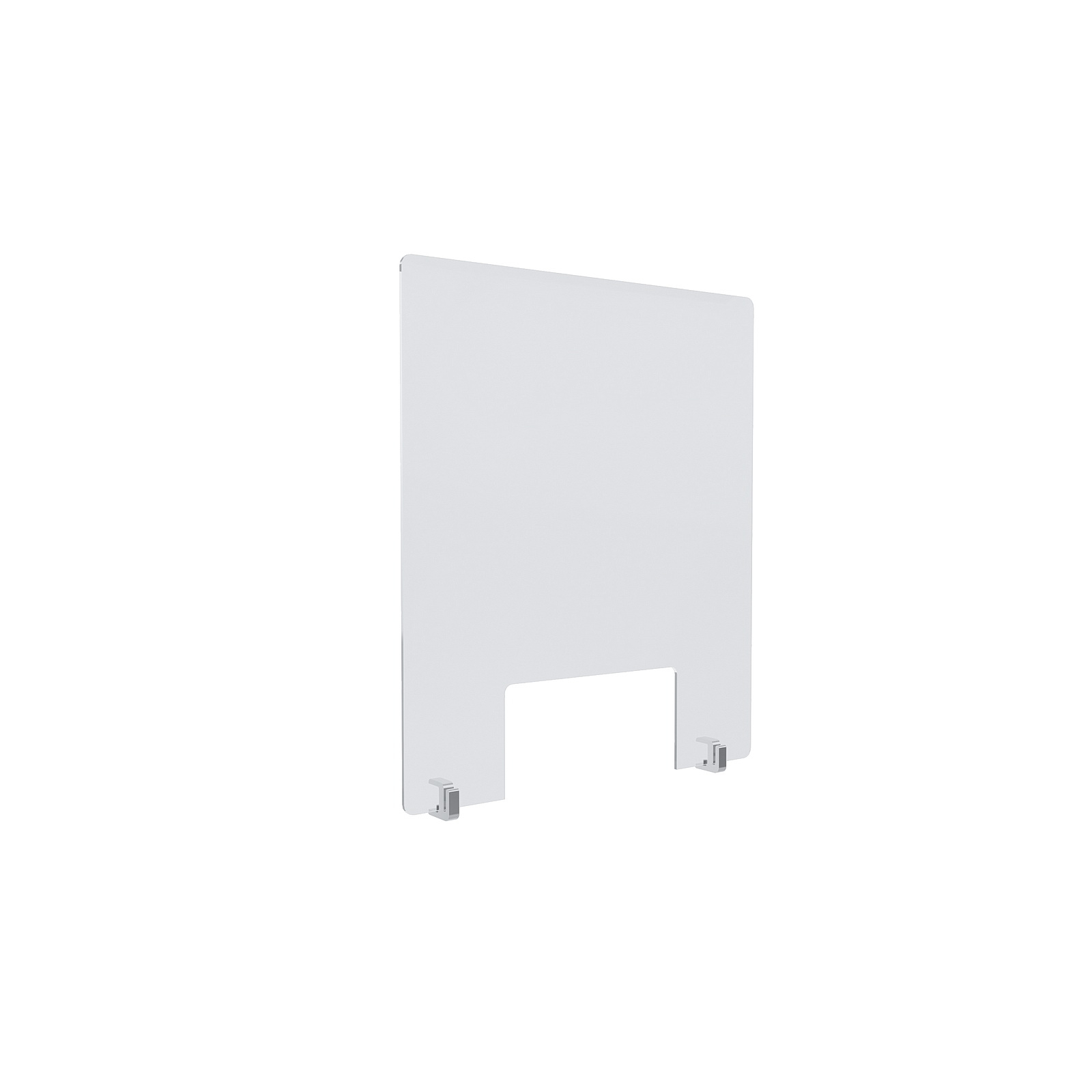 Clear Acrylic Sneeze Guard 20'' Wide x 23-1/2'' Tall (10'' x 5'' Cut Out), with (2) Clear Anodized Aluminum Front Gripping Counter Clamps (Clamp Material Accepted  1'' to 1-1/8'')