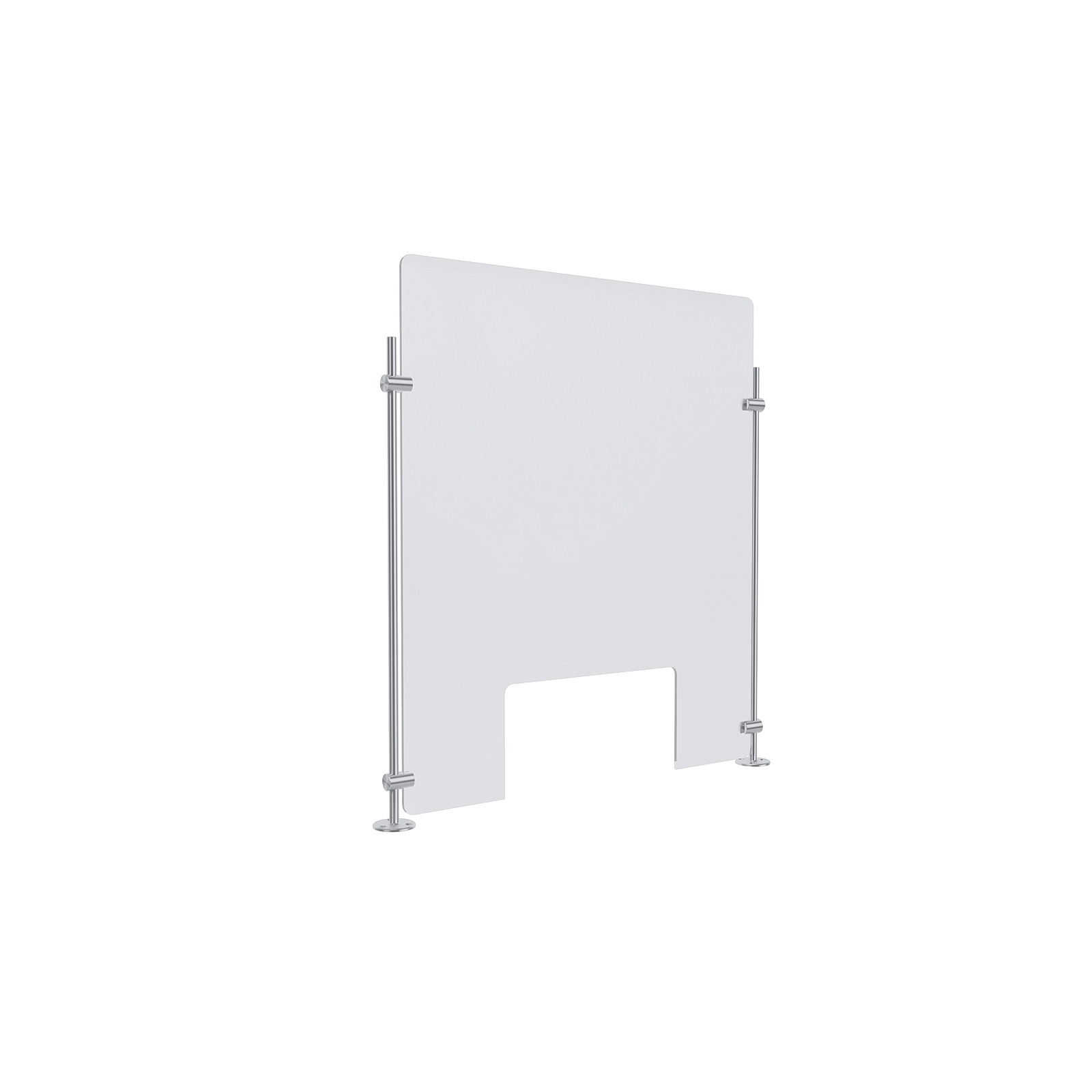 Clear Acrylic Sneeze Guard 20'' Wide x 23-1/2'' Tall (10'' x 5'' Cut Out), with (2) 20'' Tall x 3/8'' Diameter Clear Anodized Aluminum Rod on the Side.