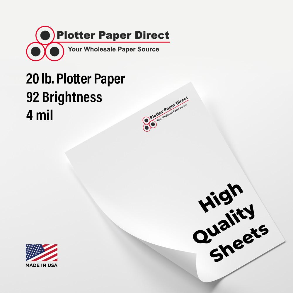17'' W x 22'' H  - 20# Plotter Paper  (100 Sheets)