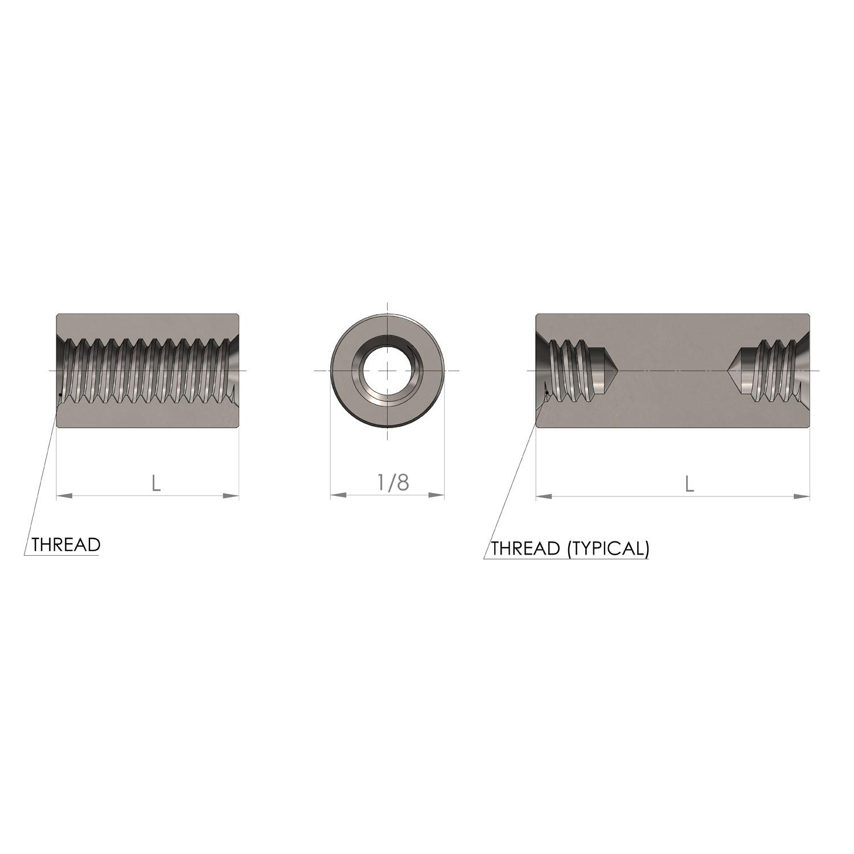 1/8'' Diameter 1/8'' Long Aluminum Plain Finish Round Female to Female Standoff