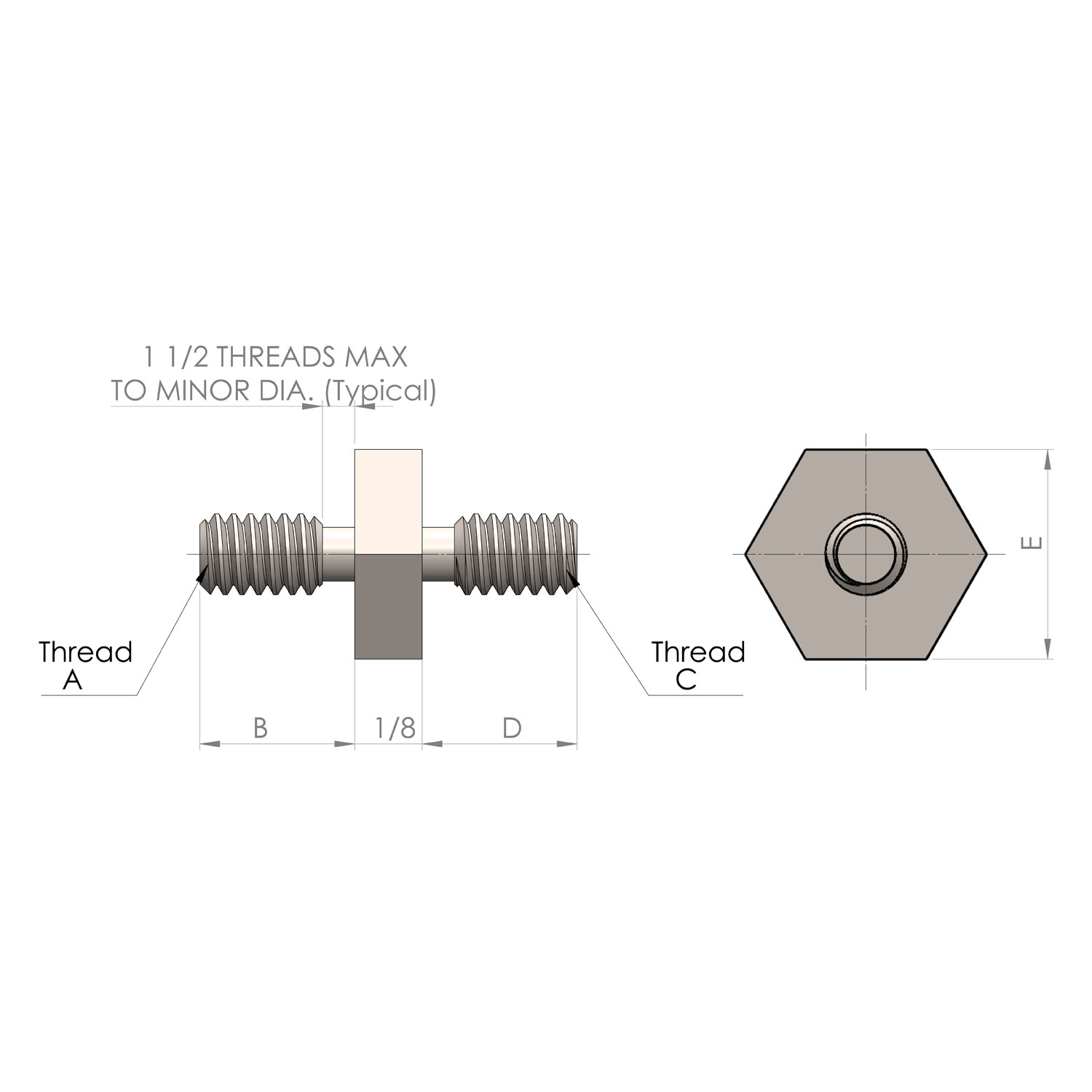 1/4'' Hex Male to Male Standoff 3/16'' length & 4-40 thread to 3/16'' length & 4-40 thread
