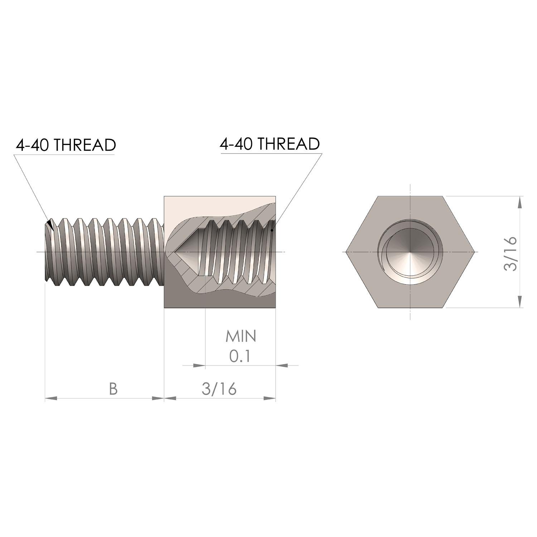 3/16'' Hex Jackscrew 4-40 Thread 3/16'' Body Length 3/16'' Thread Length.