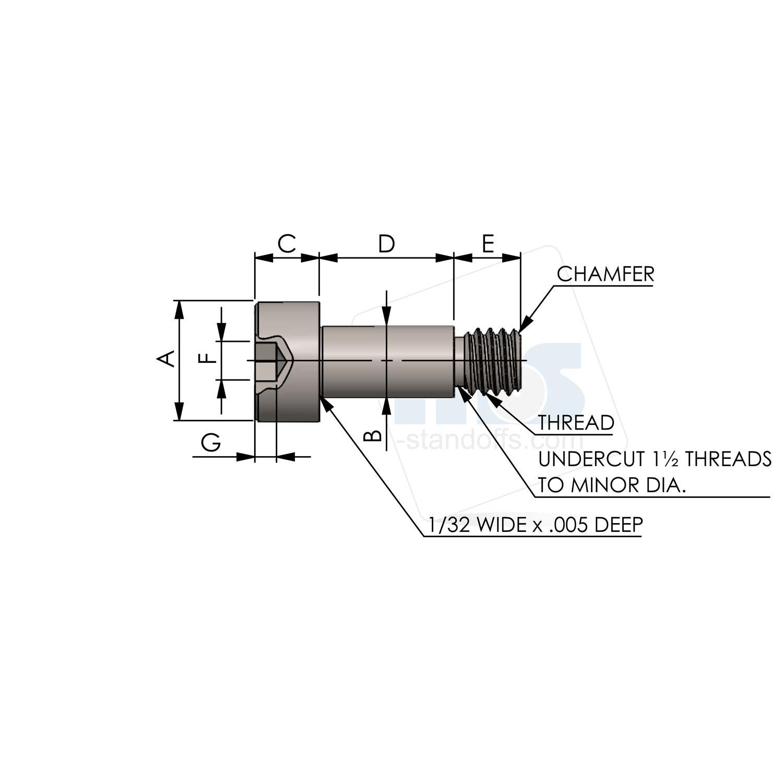 Socket Head Shoulder Screw 4-40 Thread 0.1250'' Long 0.1245'' Diameter