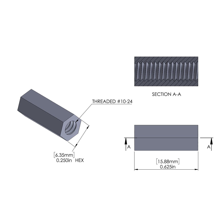 Hex Aluminum Standoff 1/4 Hex x 10-24 Thread x 5/8'' Long