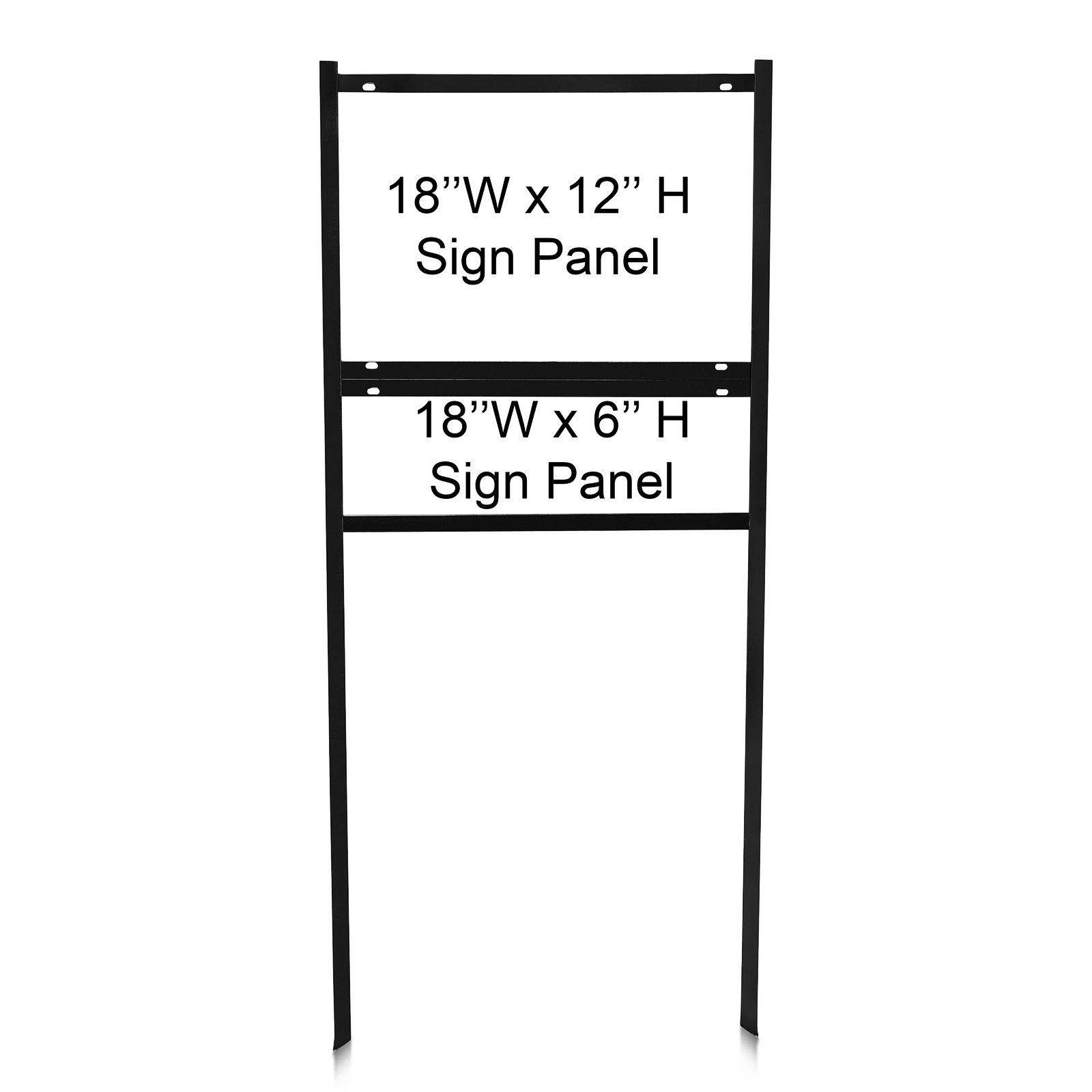 18'' Wide x 12'' Tall Black Single Rider Slide-in/Bolt-in Real Estate Sign Panel Frame (accepts up to 1/8'' thickness)