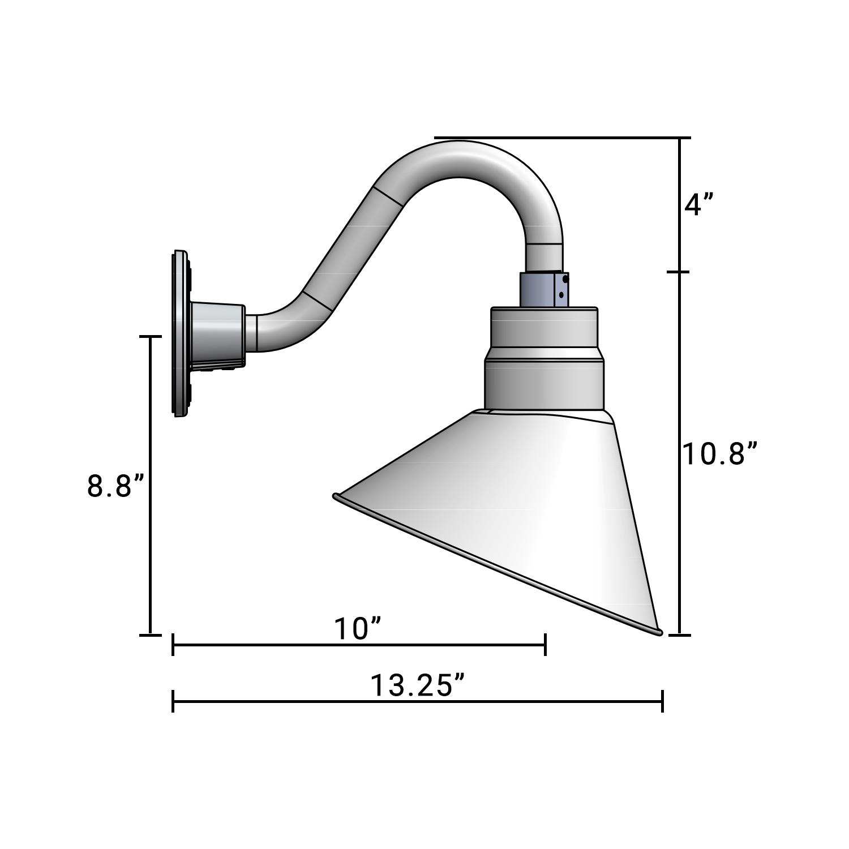 (1) 10'' Diameter Satin Black Angle Shade with (1) 10'' Long x 6'' High Satin Black Gooseneck Arm