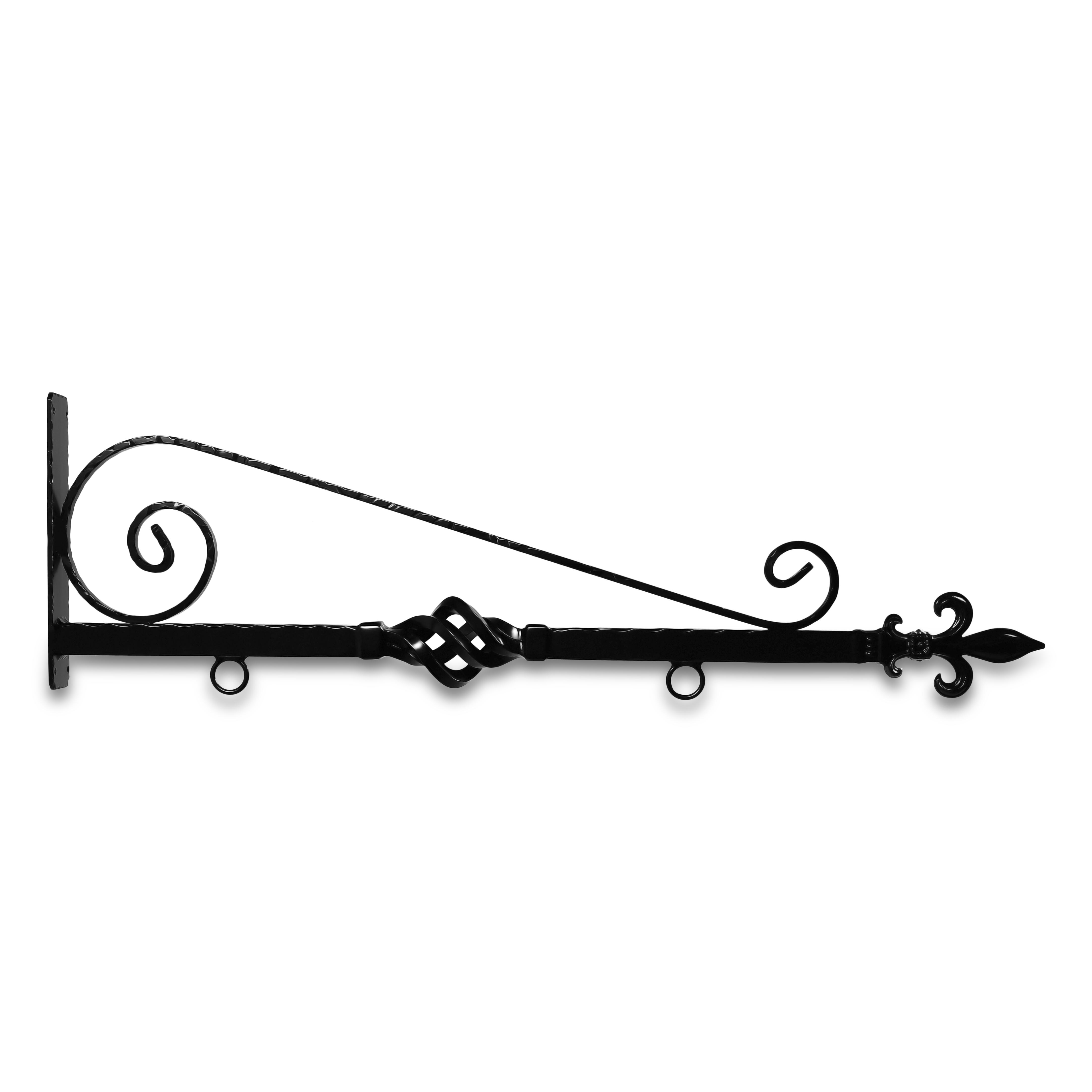 36'' Black Horizontal Architectural Bi Spiral Bourbon Street Style Aluminum Sign Bracket