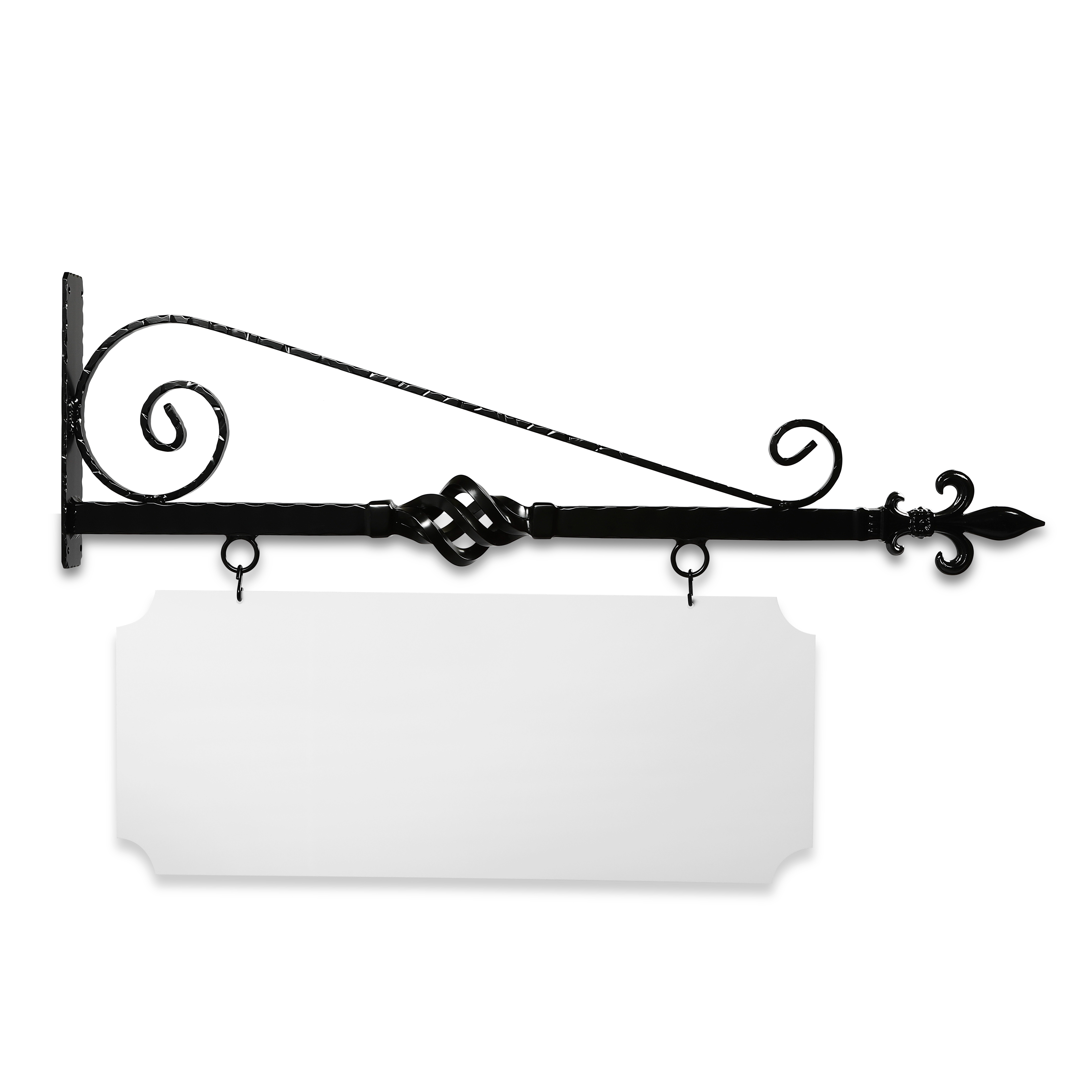36'' Wide Bourbon Street Style Bracket in  Black Powder Coated Aluminum with 14'' Tall X 34'' Wide X .080'' Thick White Aluminum Sign Blank and 2 Black Powder Coated S-Hooks