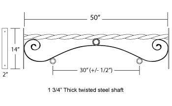 48'' Black Horizontal Double Mount Reverse Scroll Bi Spiral Aluminum Bracket