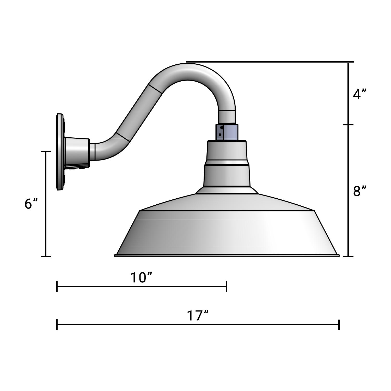 (1) 14'' Diameter Satin Black Warehouse / Barn Shade with (1) 10'' Long x 6'' High Satin Black Gooseneck Arm
