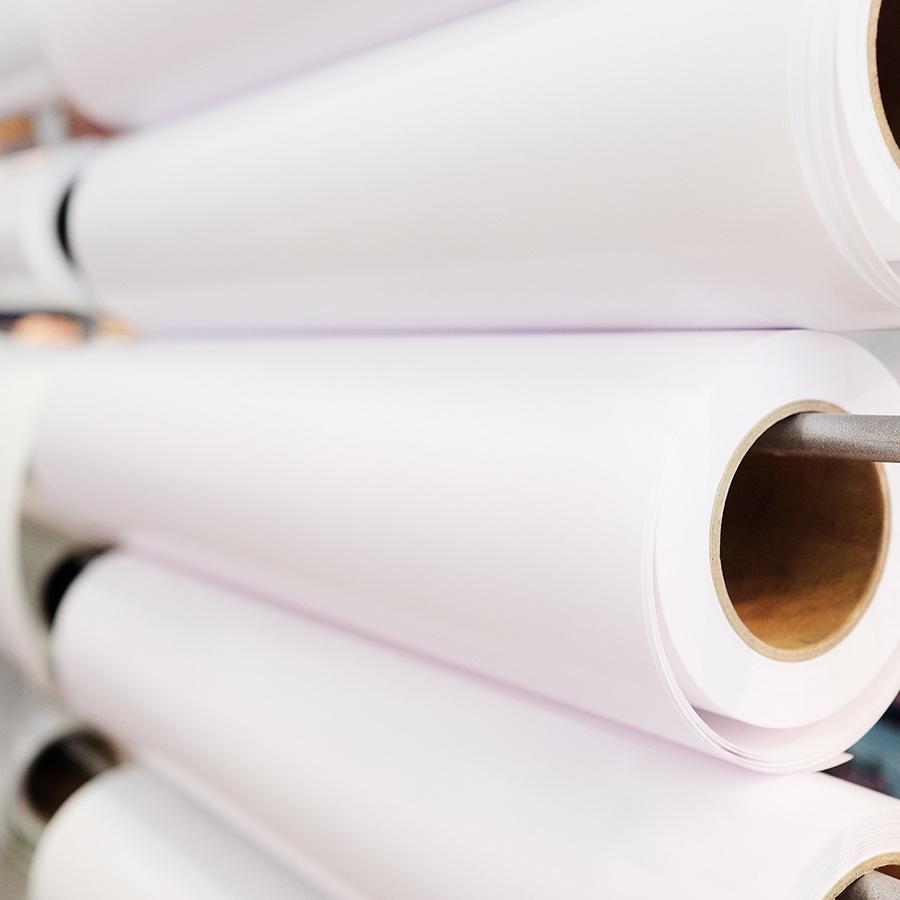 24'' x 450' Rolls - 24 lb Premium 1 Side Coated White Inkjet Engineering Bond on 3'' Core