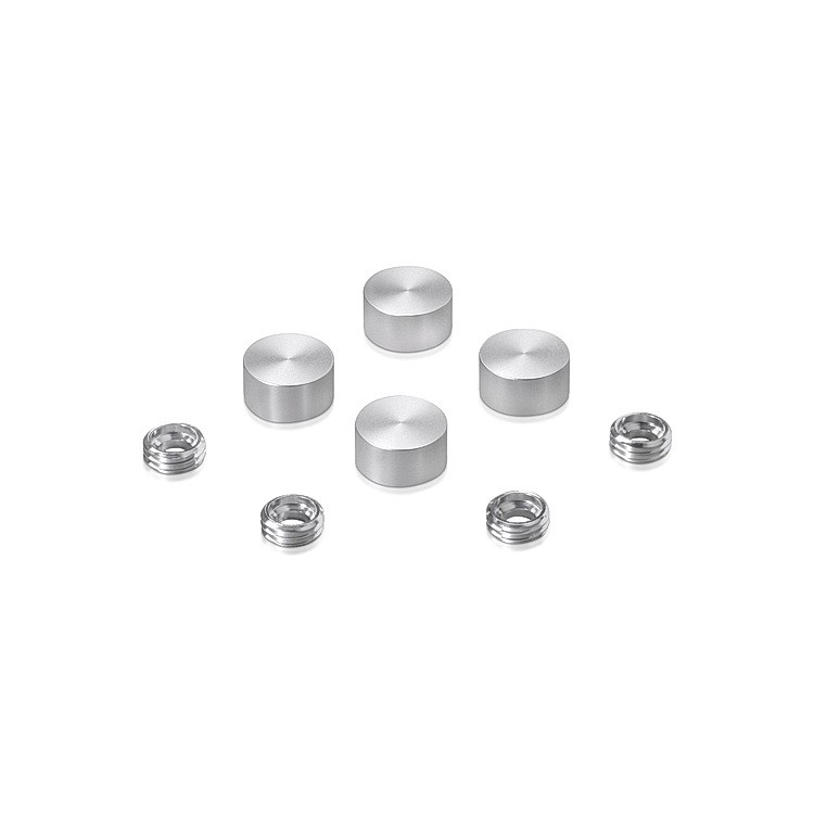 Set of 4 Screw Cover, Diameter: 1/2'', Aluminum Clear Anodized Finish